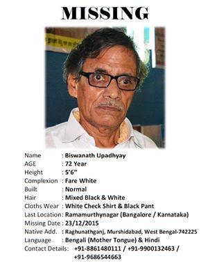 Biswanath Upadhyay Missing Bangalore Kolkata Ramamurthy nagar